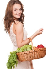 Preview iPhone wallpaper Smile girl look back, basket, vegetables, white background