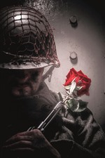 Preview iPhone wallpaper Soldier, rifle, red rose
