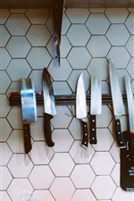 Preview iPhone wallpaper Some knives, wall