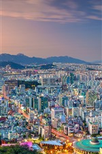 Preview iPhone wallpaper South Korea, Seoul, city view, dusk, lights