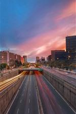 iPhone fondos de pantalla España, Barcelona, noche de la ciudad, carretera, líneas de luz, edificios