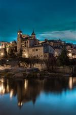 Spain, Catalonia, night, city, river