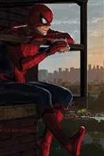 Preview iPhone wallpaper Spider-man eat sandwich, city, art picture