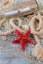 Preview iPhone wallpaper Starfish, rope, seashell, bottle, sands