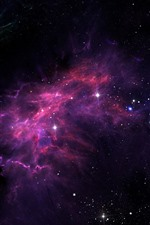 Preview iPhone wallpaper Stars, galaxy, purple light, space