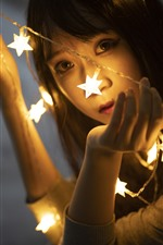 Preview iPhone wallpaper Stars lights, girl, face, hazy