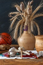 Preview iPhone wallpaper Still life, bread, pumpkin, garlic, peppers, vase, wheat