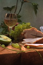 Preview iPhone wallpaper Still life, meat, grapes, cup, wine, bread, food
