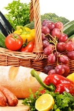 Still life, vegetables, fruit, peppers, tomatoes, bread, grapes, banana