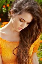 iPhone fondos de pantalla Chica de verano, falda naranja, flores