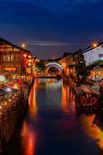 Preview iPhone wallpaper Suzhou Shantang Street, beautiful night, river, houses, lights
