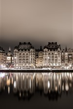 Suécia, estocolmo, casas, rio, reflexão água, noturna, luzes