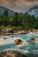 Preview iPhone wallpaper Switzerland, river, stones, trees, mountains, houses, clouds