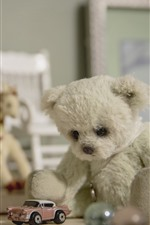 Preview iPhone wallpaper Teddy bear and toy car