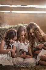 Preview iPhone wallpaper Three little girls and kittens, children