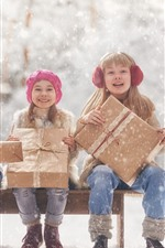 Preview iPhone wallpaper Three little girls, childs, snow, gift, winter