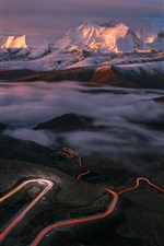 Preview iPhone wallpaper Tibet, beautiful nature landscape, mountains, road, light lines, fog