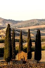 iPhone fondos de pantalla Toscana, Italia, campos, árboles, casas, campo