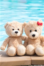 Preview iPhone wallpaper Two teddy bears, toys, sea