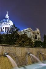 Reino Unido, Palácio, fonte, água, noite