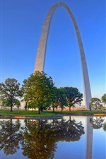 Preview iPhone wallpaper USA, St. Louis, Gates of The West, arch, city, water, trees
