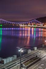 Ucrânia, Kiev, cidade, noite, ponte, luzes