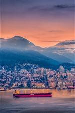 Vancouver, port, ship, city, dusk, houses, lights, Canada