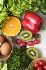 Preview iPhone wallpaper Vegetables, citrus, peppers, tomatoes, kiwi, eggs, still life