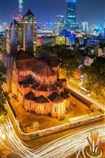 Vietnã, noite da cidade, estradas, luzes, casas