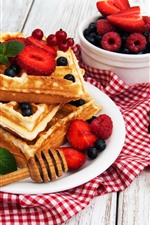 Preview iPhone wallpaper Waffles, berries, food
