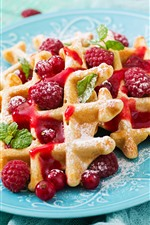 Preview iPhone wallpaper Waffles, powdered sugar, raspberry
