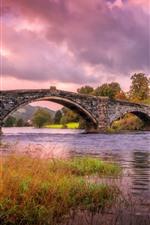 Gales, inglaterra, rio, capim, ponte, casa, outono