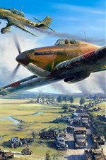 Preview iPhone wallpaper War, aircraft, cars, army, art picture