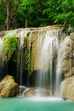 Preview iPhone wallpaper Waterfall, jungle, trees, water