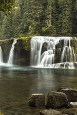Waterfall, pond, nature landscape