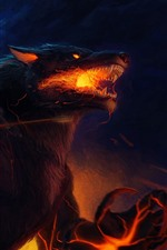 Werewolf, burning eyes, claws, art picture