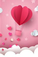 Preview iPhone wallpaper White clouds, waves, love hearts, hot air balloon, paper art