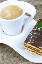 iPhone fondos de pantalla Taza blanca, café, pastel de chocolate, postre