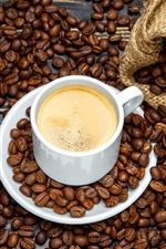 Preview iPhone wallpaper White cup, coffee, coffee beans, bag