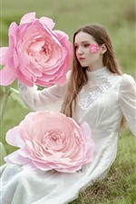 Preview iPhone wallpaper White dress girl and huge pink rose