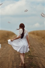 Preview iPhone wallpaper White skirt girl back view, path, paper planes