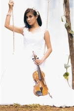 Preview iPhone wallpaper White skirt girl, swing, violin, music
