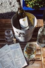 Wine, bottle, glass cups, bucket
