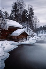 Preview iPhone wallpaper Winter, snow, river, house, trees