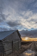 Wood house, road, clouds, sunset