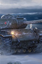 Preview iPhone wallpaper World of Tanks, Soviet tank, snow, winter