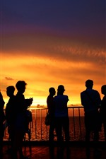 Preview iPhone wallpaper Xisha Islands, sea, people, sunset, silhouette