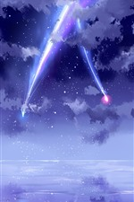 Preview iPhone wallpaper Your Name, beautiful sky, meteor, anime