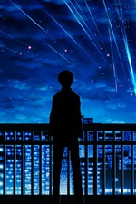 Preview iPhone wallpaper Your Name, meteor, boy, silhouette, fence, bike