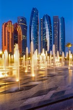 Abu Dhabi, UAE, city, skyscrapers, fountain, night
